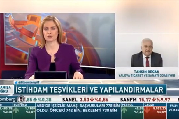 YTSO Yönetim Kurulu Başkanı Tahsin Becan  BloombergHT' de İstihdam teşvikleri ve yapılandırmalar hakkında açıklamalarda bulundu.