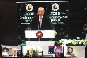 YTSO Başkanı Tahsin Becan, Cumhurbaşkanı Recep Tayyip Erdoğan'ın katılımıyla TOBB'da yapılan Ekonomi Şurasına katıldı.