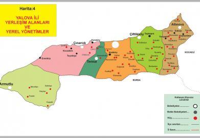 Yalova'daki yerleşim alanları ve yerel yönetimler