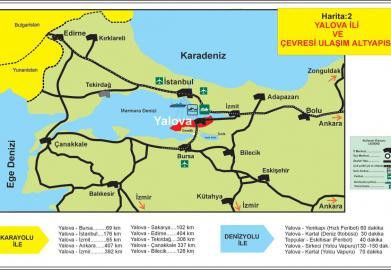 Yalova ve çevresi ulaşım altyapısı Deniz ve Karayolu ile çevre illere olan uzaklıklar